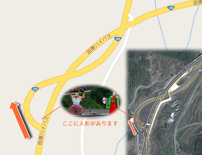 大きな人形の交差点地図